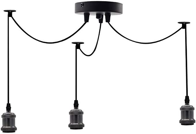 Emytock Lighting Industrial Cluster 3 Way Pendant Light Fittings Loft Bar Triple Hanging Pendant Ceiling Lights With Adjustable 100cm Wires For Kitchen Island Living Room Dining Room Black Amazon Com