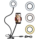 Selfie Ring Light with Cellphone Holder - Rovtop Ring Light Stand for Live Stream and Makeup, 48 LED Bulbs 3 Light Modes 10-Level Brightness and 360 Rotating for iPhone and Android Cell Phone, Black