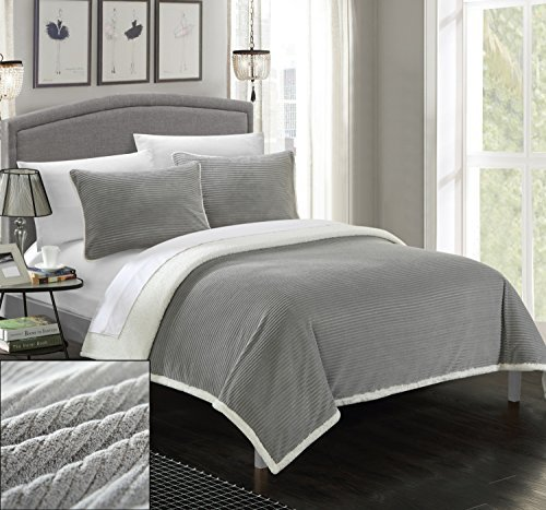 3 Piece Lancy Ultra Plush Micro Mink Sherpa Lined Textured Blanket and Shams Set, Full/Queen, Grey ()
