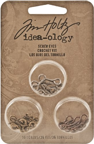 Metal Screw Eyes by Tim Holtz Idea-ology, 36 per Pack, 1/2 Inch, Antique Finishes, TH93010