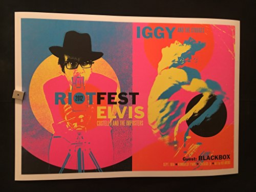 Iggy And The Stooges, Elvis Costello Chicago Riot Fest 9/16/2012 Concert Poster, Kii Arens, 2012, Humboldt Park, Iggy Pop