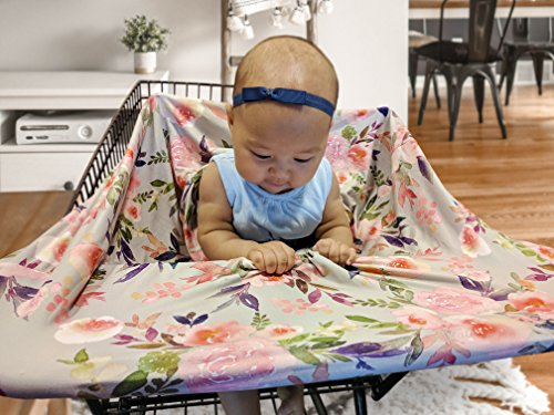 Premium Soft, Stretchy, and Spacious 4 in 1 Multi-Use Cover for Nursing, Baby Car Seat, Stroller, Scarf, and Shopping Cart - Best Gifts by Pobibaby (Grace) by Pobibaby (Image #6)