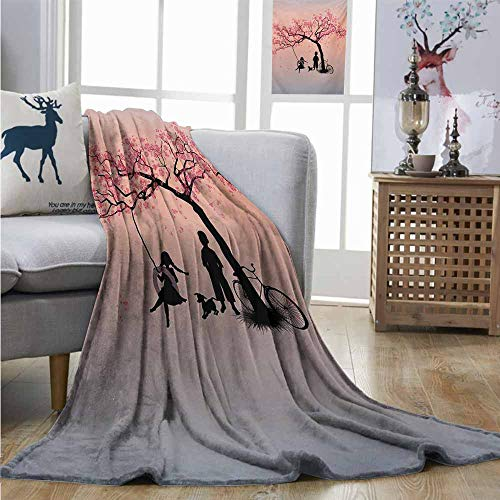 Homrkey Cozy Blanket Tree of Life Children Playing on a Tire Swing Under Cherry Tree with Dog Blossom Spring Art Charisma Blanket W60 xL91 Pink Black ()