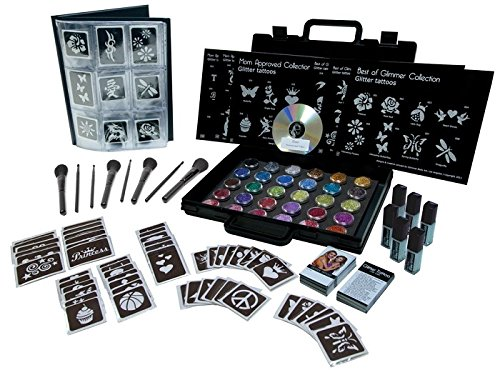 New Glimmer Body Art Temporary Tattoo Pro Party Kit Plus 50 Extra -