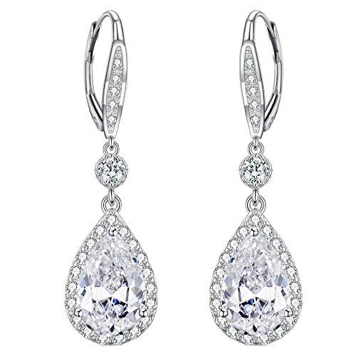 EleQueen 925 Sterling Silver Full Cubic Zirconia Teardrop Bridal Leverback Dangle Earrings Clear by EleQueen