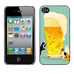Jordan Colourful Shop - Beer Cats Drinking Bro Draft For iPhone 4 / 4S Personalizado negro cubierta de la caja de pl????stico