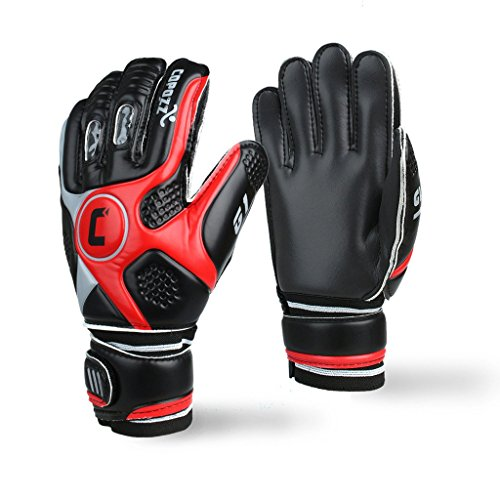 Goalkeeper Glove, COPOZZ G1 Performance Ace Fingersave Junior Goalie Glove,Latex Soccer Goalkeeper (Indoor Soccer Goalie)