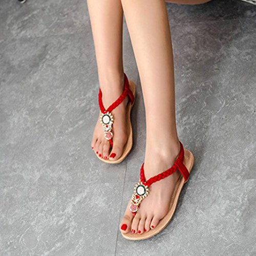 Transer 2016 1Pair Zapatos de verano de Bohemia dulces moldeados de las sandalias del dedo del pie del clip playa de las sandalias Rojo