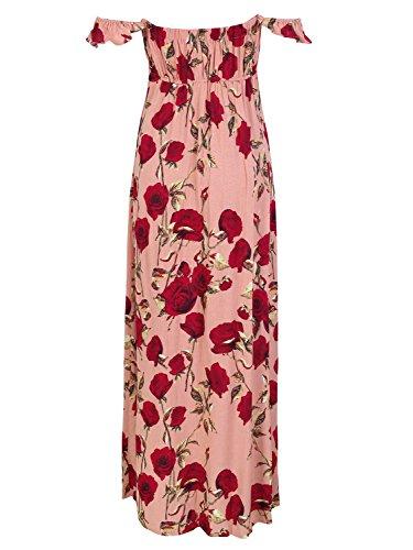 Apparel Maxi Simplee Off Women Sleeves Short s Slit Side Dress Floral Shoulder Pink gdvdx
