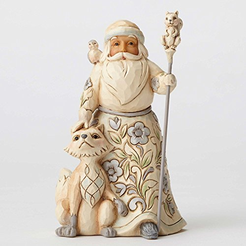 "Jim Shore Heartwood Creek White Woodland Santa with Fox Stone Resin Figurine, 5.25"" - White Santa Figurine"
