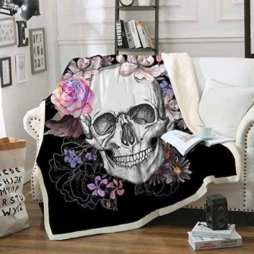 "Sleepwish Black Sugar Skull Blanket Soft Fleece Throw Blanket Skull Rose Design Gothic Skeleton Sherpa Blanket for Bed Couch Sofa Chair Office (50""x 60"")"