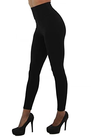 afa0656fe5cc1f World of Leggings Made in the USA High Waisted Full Length Cotton Leggings  Black S