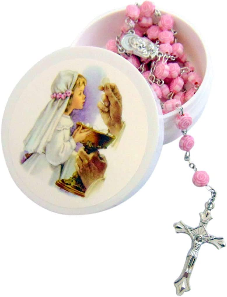 Westman Works Girls First Communion Rosary Rose Shaped Bead Catholic Gift Set with Case