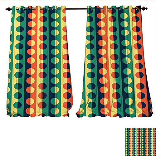- WilliamsDecor Room Darkening Wide Curtains Pop Art Style Vertical Striped Half-Pattern Ring Forms Retro Poster Print Decor Curtains by W72 x L96 Orange Teal
