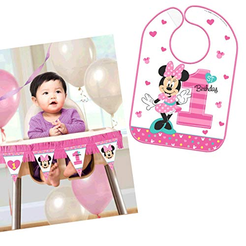 (Minnies First Birthday Party Supplies Bundle Pack for 16 Guests (High Chair)