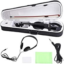 Cocoarm Maple Wood 4/4 Electric Violin Fiddle with Bow Headphone Audio Cable Accessories