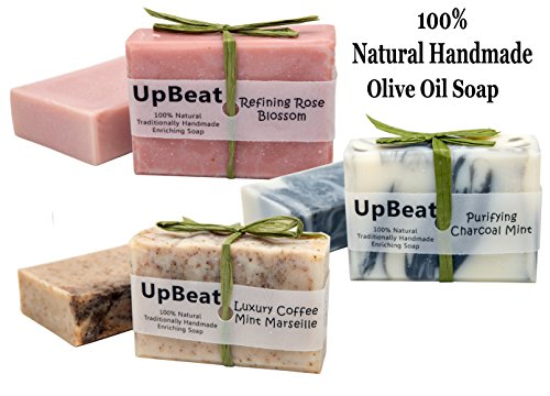 Natural Soap Bar Gift Set -3 Handmade Organic Olive Oil Soaps with Coconut Oil. Activated Charcoal Soap Purifies,Coffee Soap Exfoliates,Moisturizing Rose Herbal Soap Cleanses.Great Gift Idea for All