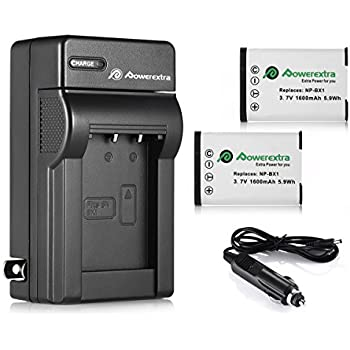 Powerextra 2 Pack Replacement Sony NP-BX1 Li-ion Battery With Charger For Sony NP-BX1/M8 and Sony Cyber-shot DSC-RX100, DSC-RX100 II, DSC-RX100M II, DSC-RX100 III, DSC-RX100 V