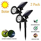 Solar Spotlights Outdoor landscape lights Wall Light 180°Adjustable 4 LED Waterproof 2 in 1 Security Lighting Yard, parking lot, road, statue (2 Pack)