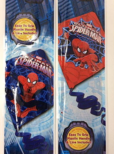 Diamond Kites For Kids Blue and Red Plastic Marvel Ultimate Spiderman Bundle of 2