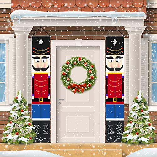 ORIENTAL CHERRY Nutcracker Christmas Decorations - Outdoor Xmas Decor - Life Size Soldier Model Nutcracker Banners for Front Door Porch Garden Indoor Exterior Kids Party (Soldiers Christmas Nutcracker For)