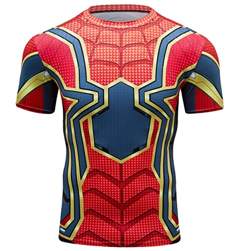 Red Plume Men's Compression Shirt Short Sleeve Tops Running Ants Base Layers Tee (Red with Blue, L) -
