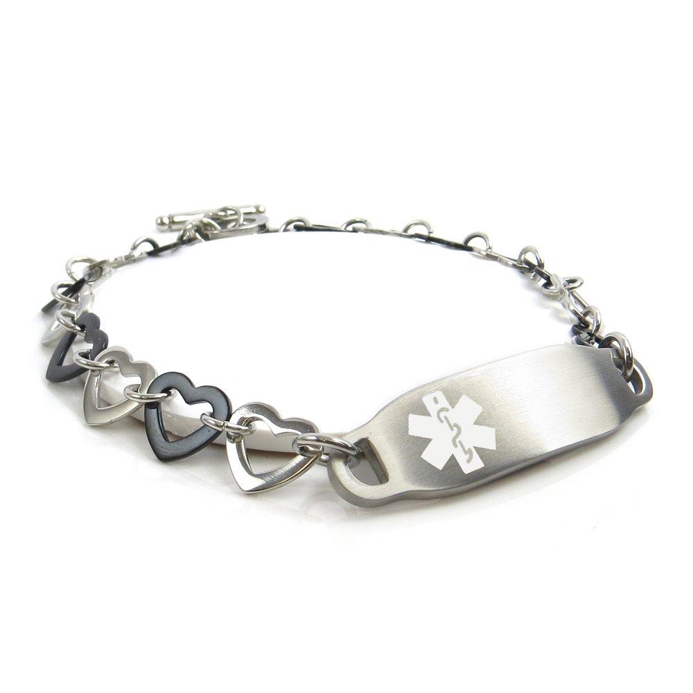 My Identity Doctor - Pre-Engraved & Customizable Bariatric Surgery Women's Medical Alert Bracelet, Steel/Black Hearts, White