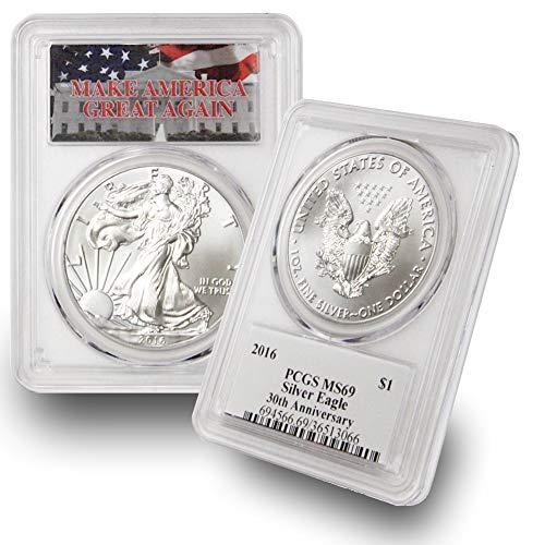 - 2016 1 oz American Silver Eagle $1 MS69 PCGS Make America Great Again (MAGA) .999 Fine Silver US Mint