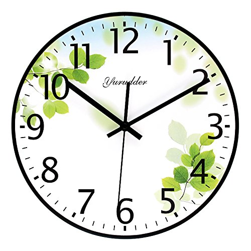 Price comparison product image Y-Hui Wall Clock Mute Living Room Fresh And No Box Clock 11 Inch Wooden Wall Table Bedroom,  10 Inch,  Light Green M-G662 Fresh