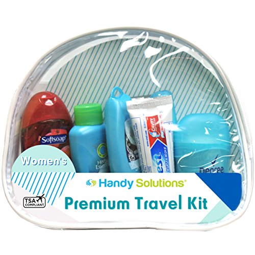 Premium Women's 7-Piece Travel Size Kit includes Twin Blade, Toothbrush, Herbal Essence Hello Hydration Shampoo, Conditioner, Degree Antiperspirant, Toothpaste, Softsoap Body Wash (TSA Compliant)