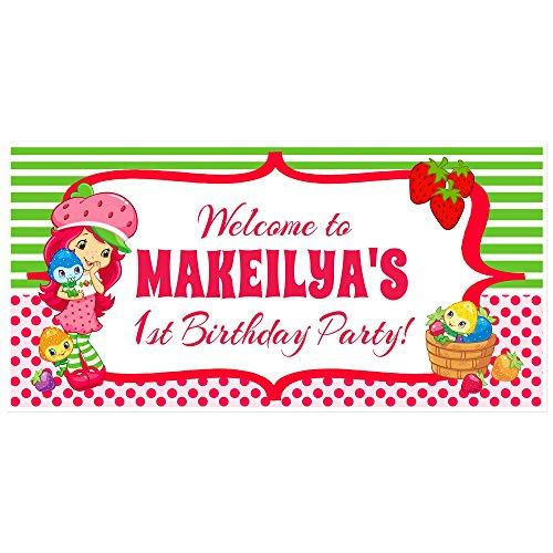 Strawberry Shortcake Birthday Banner - Strawberry Shortcake Birthday Banner Personalized Custom Party Backdrop Decoration