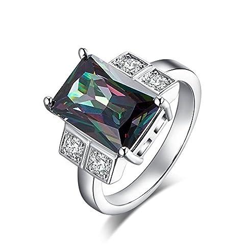 Psiroy Cushion Cut Created Mystic Rainbow Topaz Big Stone Ring for Women - Big Stone Ring
