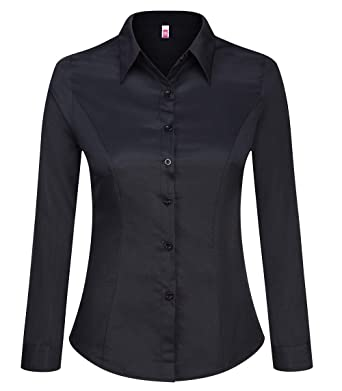 cdd398a3e Double Plus Open Women Basic Tailored Collared Button Down Shirt Long  Sleeve Slim Fit Blouse Black