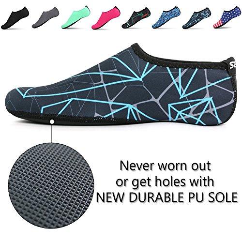 SENFI Unisex Wasser Haut Schuhe Barfuß Aqua Socken für Pool-Wasser-Aerobic-Übung A.darkblue