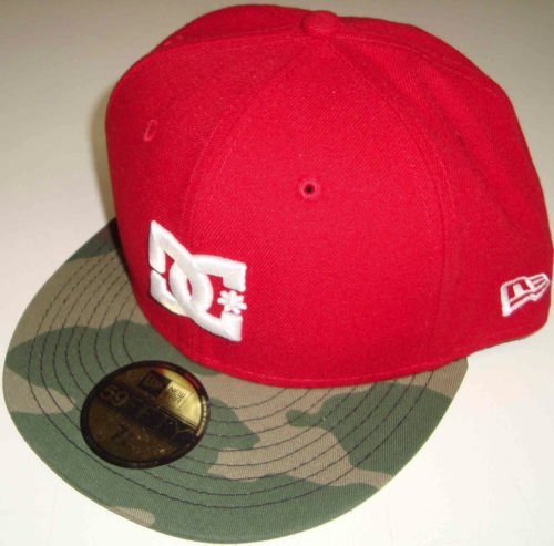New Era DC Shoes Dynasty Flatbrim Fitted Hat Cap (7 3/8, Red/Camo)