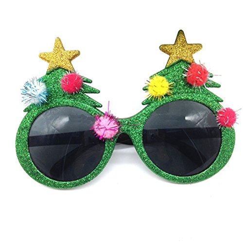 BESTOYARD Christmas Sunglasses Novelty Christmas Tree Eyeglasses Plastic Costume Eyeglasses for Party - Christmas Tree Sunglasses