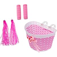 HOMYL Girls Kids Bicycle Removable Basket Kids Tricycle Bike Pannier with Strap Handlebar Streamers and 1 Pair Pink…