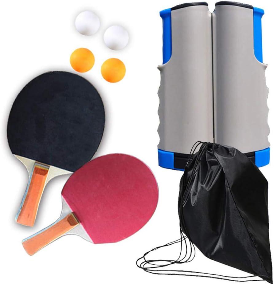 Bcamelys - Set de Ping Pong, Ping Pong profesional, juego de Ping Pong portátil con red retráctil, para interior y exterior, 2 raquetas + 4 pelotas de ping pong