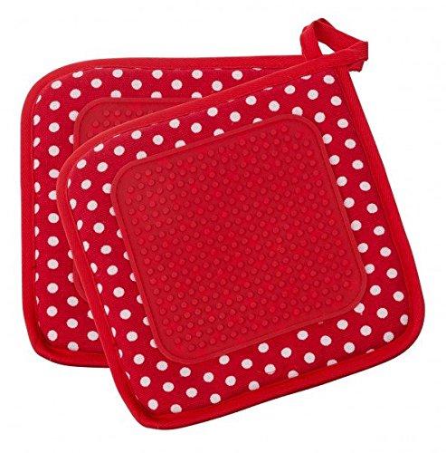WENKO Baumwoll Topflappen 2-tlg. mit Silikonfläche, rot - mit Eingriff - Topflappen - Grillhandschuh - Ofenhandschuh - Kochhandschuh - Küchenhandschuh