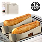 Toaster Bags, Furado 12 Pack Sandwich Toaster Bread Bags Reusable for Grilled Cheese, 100% BPA & Gluten Free Sandwich, FDA & LFGB Approved Non Stick Toast Bag Made of Premium Quality Teflon - 3 Sizes