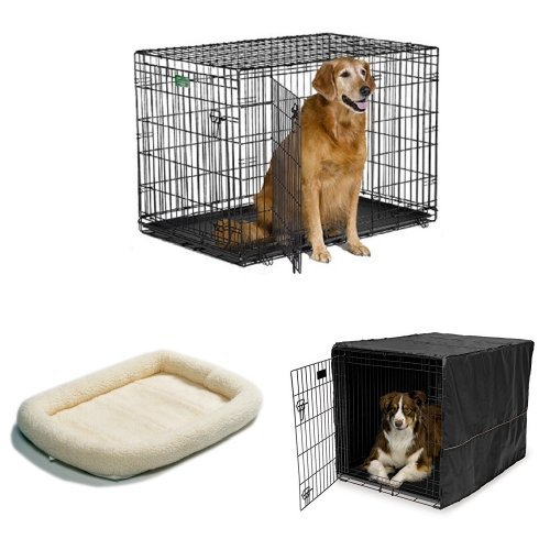 42-Inch Double Door iCrate with Fleece Bed and Cover