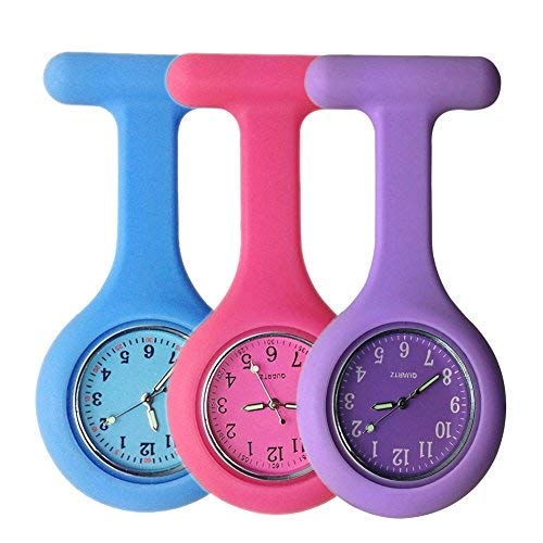 aa0213e1f Set of 3 Nurse Watch Brooch, Silicone with Pin/Clip, Glow Pointer in. found at  Amazon