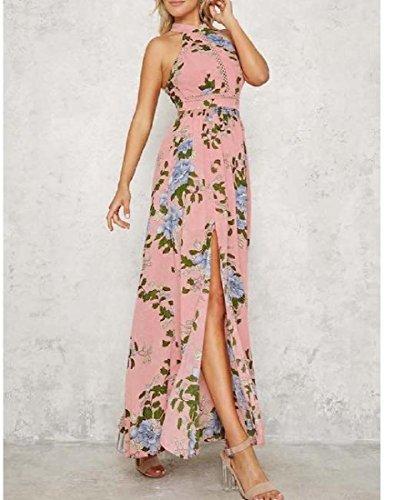 Dress Slite Side High Sleeveless Pink Waist Women Printed Coolred Beach Maxi zq7pYp