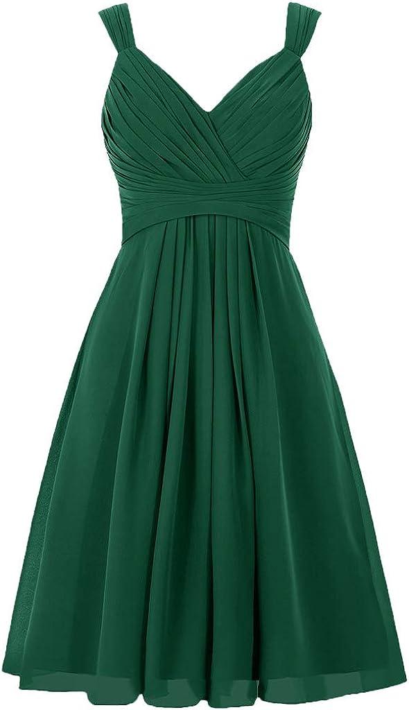 HUINI V-Ausschnitt A-Linie Chiffon Brautjunferkleid kurz Abendkleid Ballkleid Hochzeitskleider Partykleider