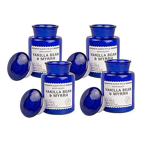 Paddywax Blue Apothecary 8 Oz Candle - Vanilla Bean And Myrrh Candle - Pack Of 4