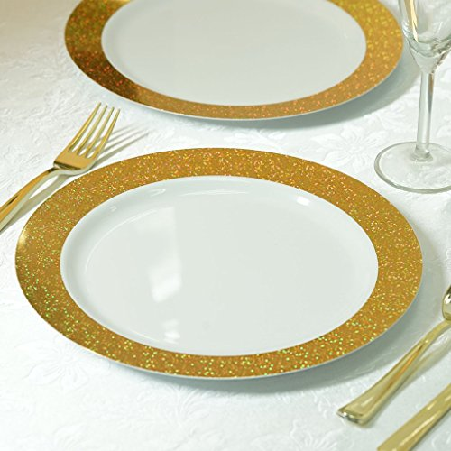 BalsaCircle 24 pcs 10.25-Inch White with Gold Dust Rim Plastic Round Plates - Disposable Wedding Party Catering Tableware