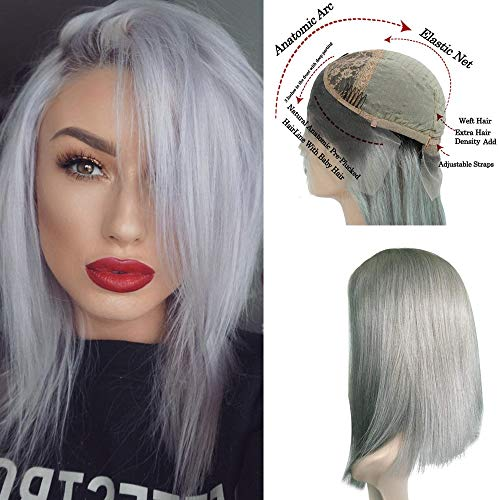Myfashionhair Inexpensive Human Hair Wigs Silky Straight Hair Wigs Online 12 inch 180% Density Discount Lace Front Wigs with 13x6 Swiss Lace and Adjustable Cap (#1B/613) -