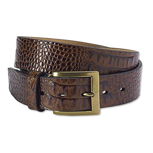 Faux Crocodile Belt (Orvis Men's Faux Croc Belt, Brown,)