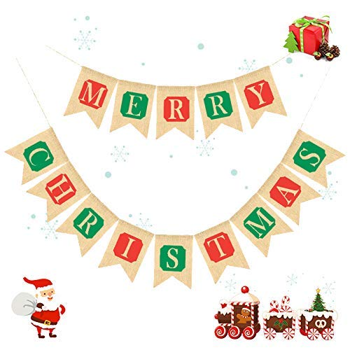 Merry Christmas Flags Banner Indoor Burlap Outdoor Bunting Banner Garland for Cafe Restaurant Party Garden Decoration