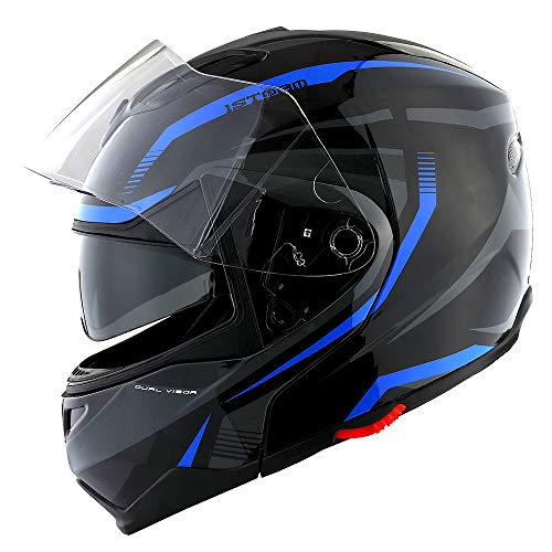 1Storm Motorcycle Street Bike Modular/Flip up Dual Visor/Sun Shield Full Face Helmet Storm Tron Blue